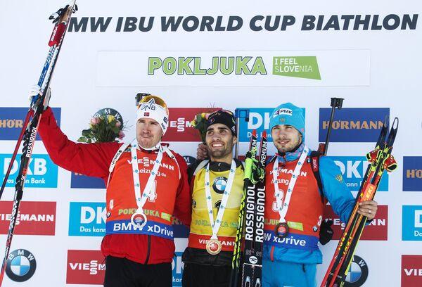 Эмиль Хегле Свендсен, Мартен Фуркад и Антон Шипулин (слева направо)
