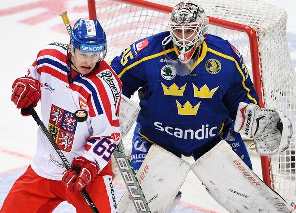 Нападающий сборной Чехии Лукаш Радил (слева) и вратарь сборной Швеции Юхан Густафссон