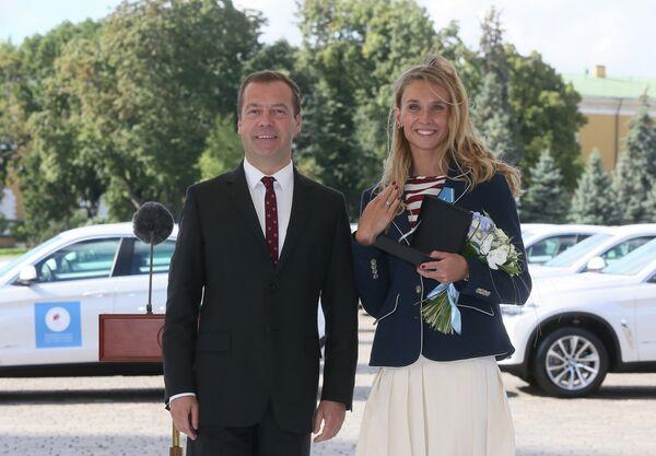 Синхронистка Наталья Ищенко и председатель правительства РФ Дмитрий Медведев