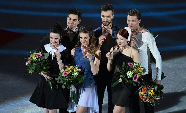 Анна Каппелини и Лука Ланотте, Габриэлла Пападакис и Гийом Сизерон, Екатерина Боброва и Дмитрий Соловьев (слева направо)