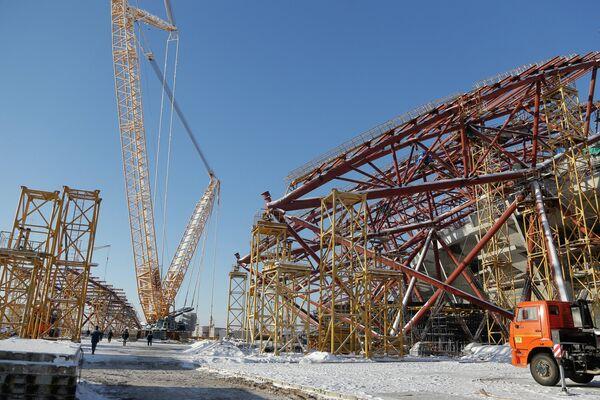 Строительство стадиона Самара Арена в Самаре к чемпионату мира по футболу 2018 года