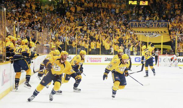 Хоккеисты Нэшвилла радуются выходу в финал Кубка Стэнли
