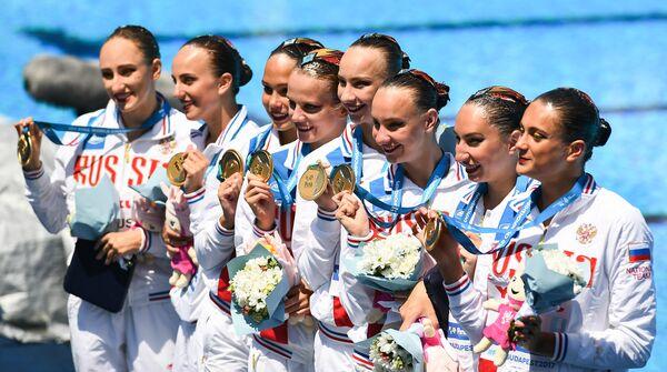 Синхронистки сборной России, завоевавшие золотые медали