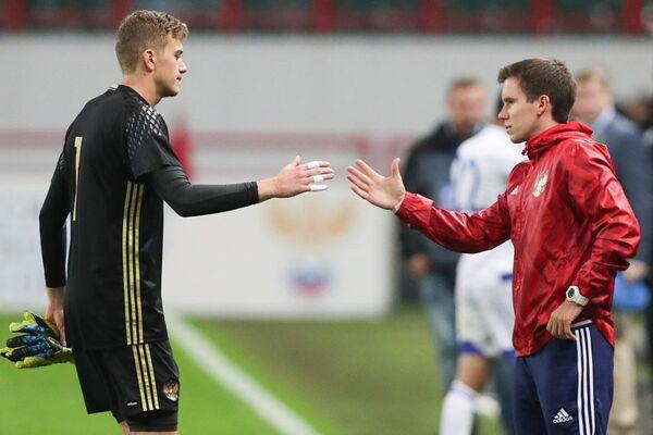 Голкипер молодежной сборной России Антон Митрюшкин