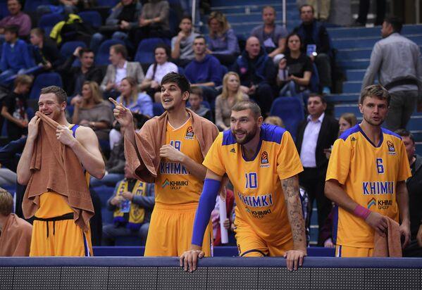 Игроки БК Химки Андрей Зубков, Марко Тодорович, Дмитрий Соколов и Егор Вяльцев (слева направо)