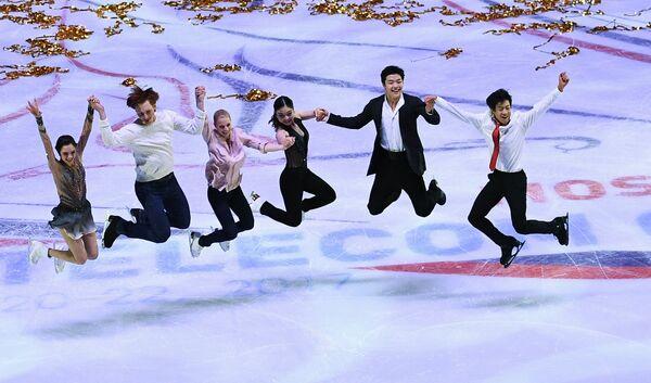 Евгения Медведева, Евгения Тарасова и Владимир Морозов, Майя Шибутани и Алекс Шибутани, Натан Чен (слева направо)