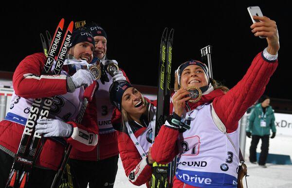 Норвежцы Ингрид Ландмарк Тандреволд, Тириль Экхофф, Йоханнес Бё и Эмиль Хегле Свендсен (слева направо)