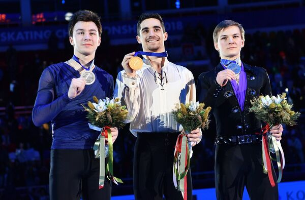 Дмитрий Алиев, Хавьер Фернандес, Михаил Коляда (слева направо)