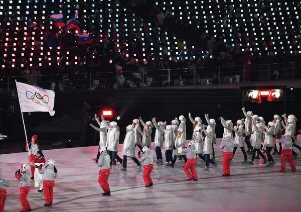Олимпийские атлеты из России на церемонии открытия XXIII зимних Олимпийских игр в Пхенчхане