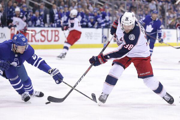 Игровой момент матча НХЛ Торонто - Коламбус
