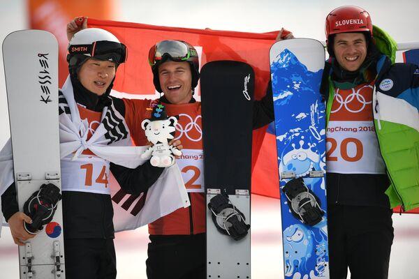 Ли Санхо, Невин Гальмарини (Швейцария) и Жан Кошир (слева направо)