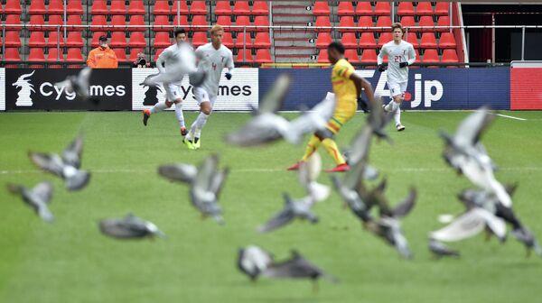 Игровой момент товарищеского матча между сборными Японии и Мали