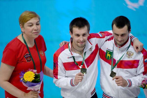 главный тренер сборной России по прыжкам в воду Светлана Моисеева, Виктор Минибаев и Александр Бондарь(слева направо)