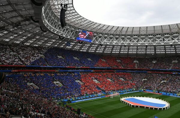 Стадион Лужники перед началом матча Россия - Саудовская Аравия