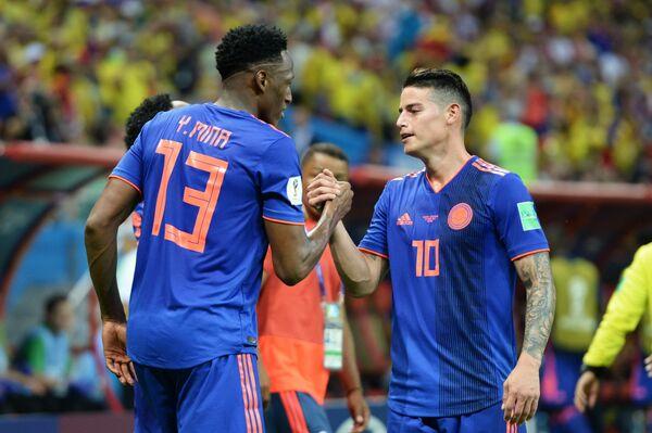 Футболисты сборной Колумбии Ерри Мина и Хамес Родригес (Слева направо)