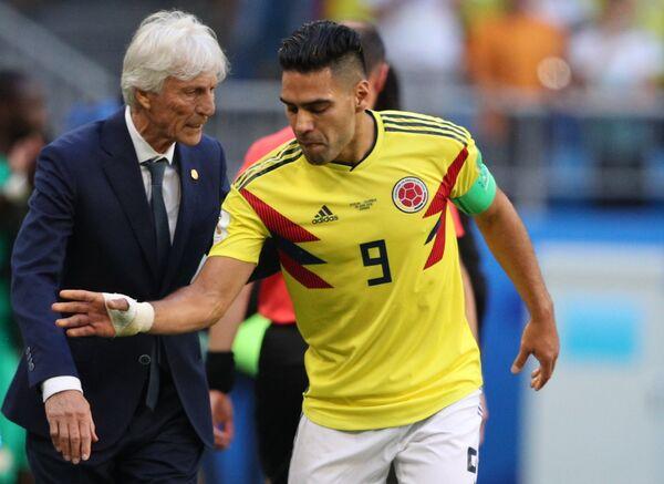 Гавный тренер сборной Колумбии Хосе Пекерман и форвард Радамель Фалькао (слева направо)