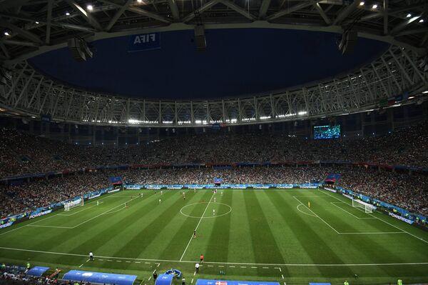 Игровой момент матча Хорватия - Дания