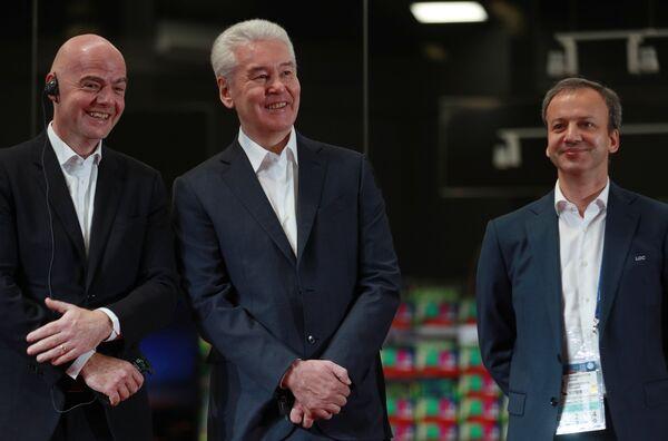 Президент FIFA Джанни Инфантино, мэр Москвы Сергей Собянин и председатель оргкомитета Россия-2018 Аркадий Дворкович