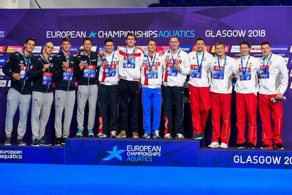 Призеры мужской эстафеты 4 по 100 метров на чемпионате Европы в Глазго
