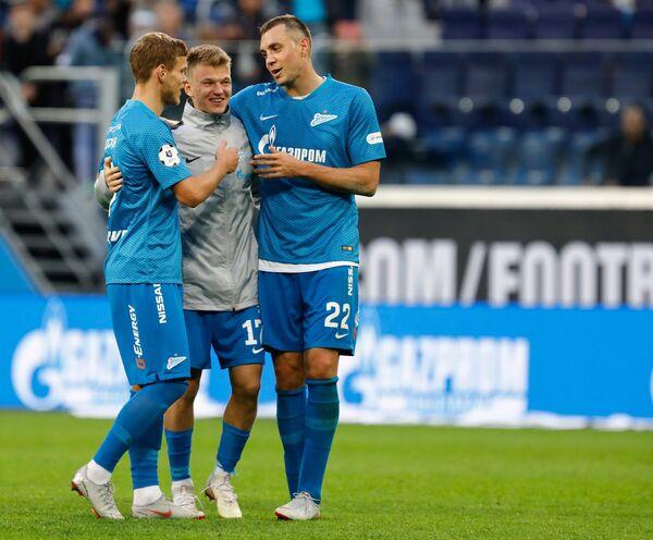 Футболисты Зенита Александр Кокорин, Олег Шатов и Артём Дзюба (слева направо)