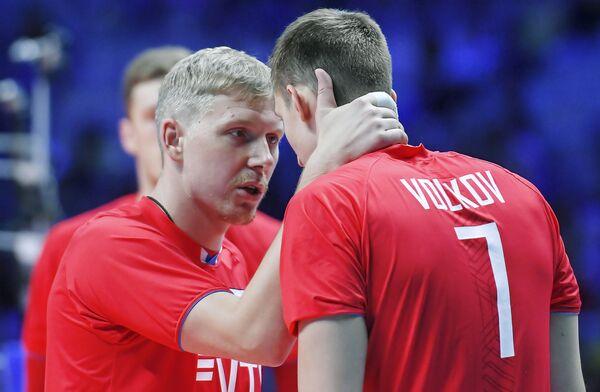 Волейболисты сборной России Сергей Гранкин и Дмитрий Волков
