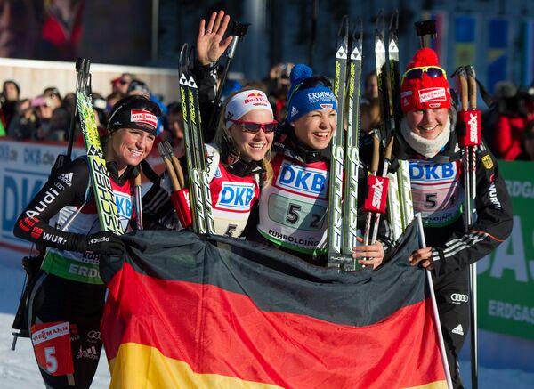 Андреа Хенкель, Мириам Гесснер, Магдалены Нойнер и Тины Бахман (слева направо)