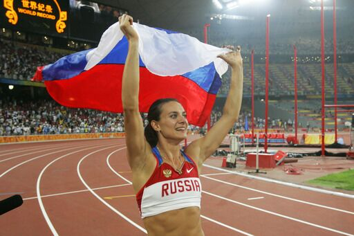 Российская прыгунья с шестом Елена Исинбаева установила новый мировой рекорд в прыжках с шестом (5,05 метра) на Олимпиаде в Пекине
