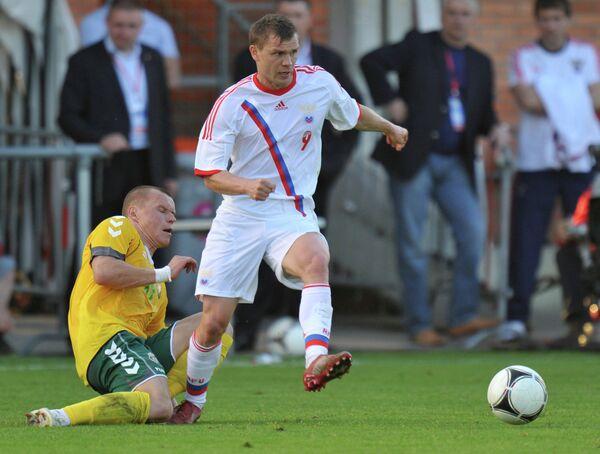 Игровой момент матча России и Литвы