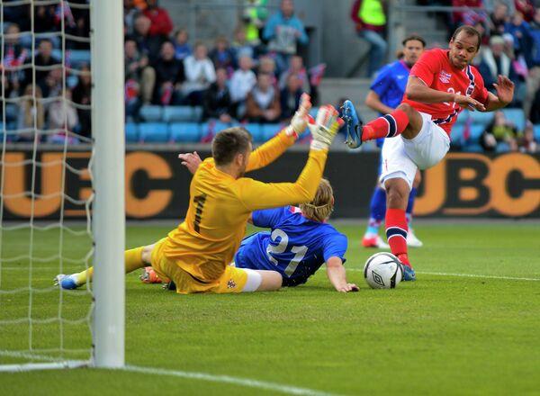Игровой момент матча Норвегия - Хорватия