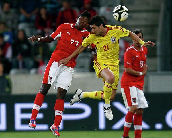 Игровой момент матча Австрия - Румыния