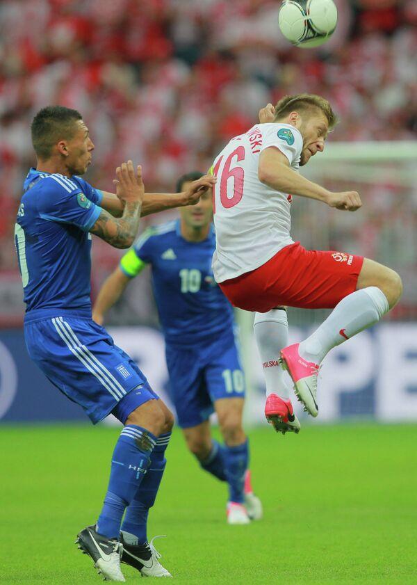 Игровой момент матча сборных Польши и Греции