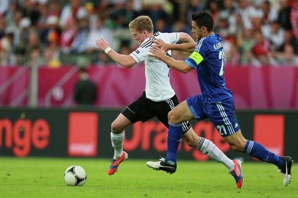 Игровой момент матча сборных Германии и Греции