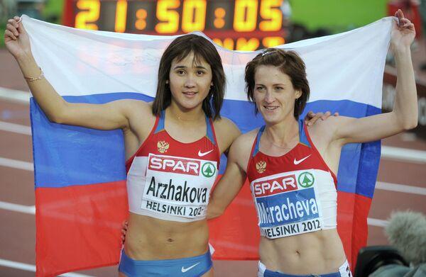 Елена Аржакова (золото) и Ирина Марачева (бронза)
