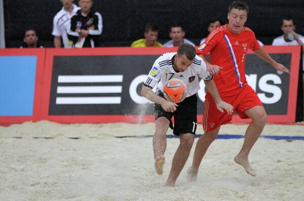 Игровой момент матча между сборными командами России и Германии.