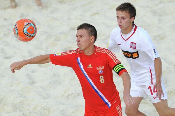 Игровой момент матча между сборными командами России и Польши