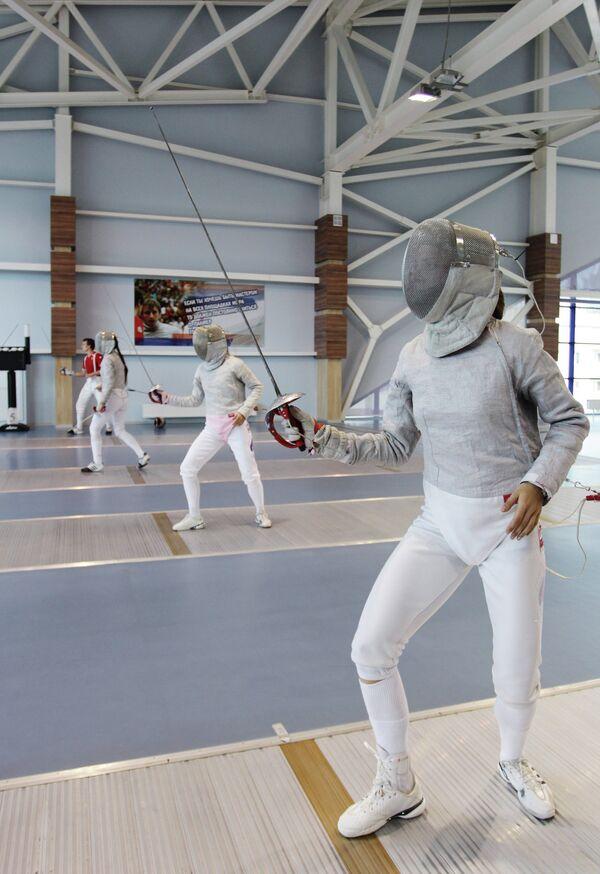 Тренировка саблистов сборной России по фехтованию