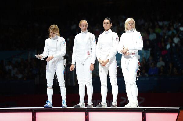 Россиянки Анна Сивкова, Виолетта Колобова, Любовь Шутова и Татьяна Логунова (слева направо)