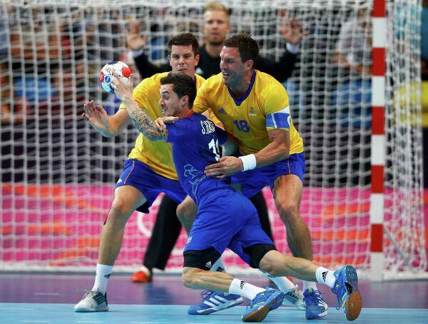 Игровой момент матча Франция - Швеция
