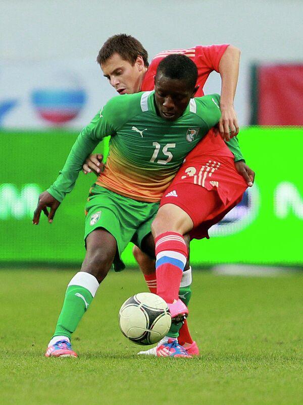 Игровой момент матча Россия - Кот-д'Ивуар