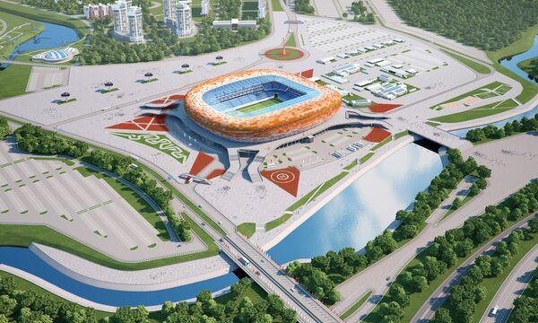 Макет будущего футбольного стадиона Юбилейный в Саранске