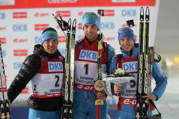 Россиянин Евгений Гараничев (серебряная медаль), россиянин Дмитрий Малышко (золотая медаль), чех Ондржей Моравец (бронзовая медаль) (слева направо)