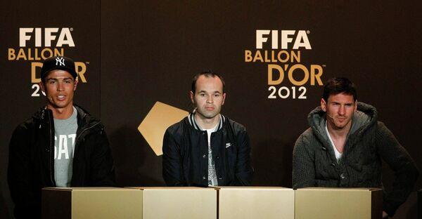 Криштиану Роналду, Андреас Иньеста и Лионель Месси (слева направо)