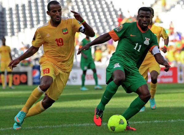 Игровой момент матча Замбия - Эфиопия