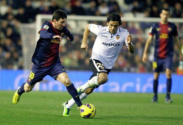 Игровой момент матча Барселона - Валенсия