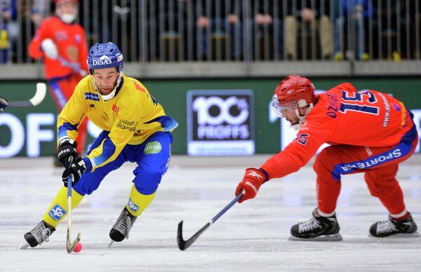 Игровой момент матча Щвеция - Россия