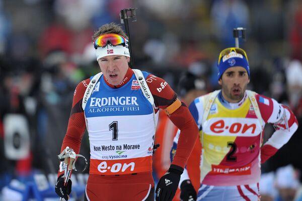 Норвежец Эмиль Хегле Свендсен и француз Мартен Фуркад (слева направо)