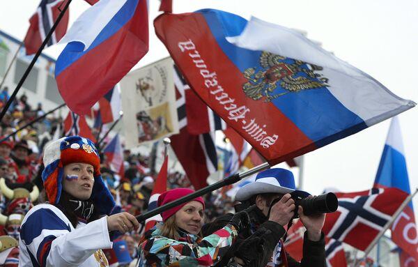 Российские болельщики на чемпионате мира по биатлону