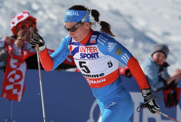 Российская лыжница Юлия Чекалева на дистанции 30 км классическим стилем