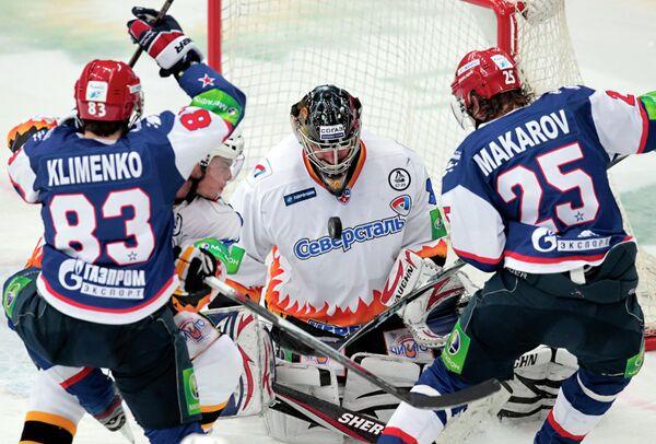 Игровой момент матча СКА - Северсталь