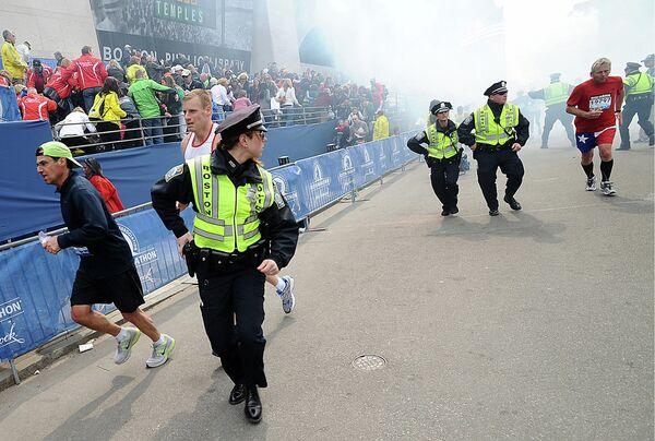 Момент взрыва в Бостоне